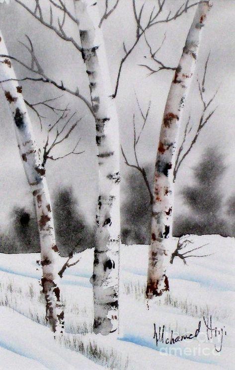 Birches Painting - Birches Fine Art Print More Watercolor Trees, Watercolor Landscape, Landscape Paintings, Watercolor Paintings, Watercolors, Landscapes, Winter Painting, Winter Art, Winter Tree Drawing