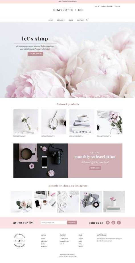 Charlotte — styled digital — web design + development for small business — specializing in Feminine Shopify Themes, Squarespace and SEO