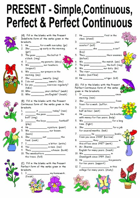 Exercises On Present Simple, Continuous, Perfect   Perfect Continuous Tenses Editable With Answers - Image Worksheets