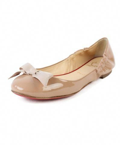 cheap for discount dd644 cc044 Christian Louboutin Gloriana Nude Patent Leather Flats w ...