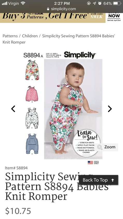 Use to Make Simplicity Sewing Pattern S8894A Learn to Sew! 4 Designs of Babies Knit Rompers