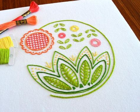 Sweetsong hand embroidery pattern, a modern crewel embroidery pattern PDF