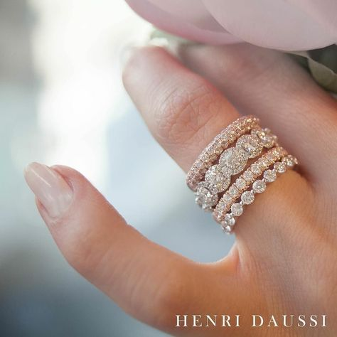 Add a touch of sparkle to your #henridaussi stack with #pink diamonds and #rosegold www.HenriDaussi.com - Henri Daussi Engagement Ring and Wedding Band
