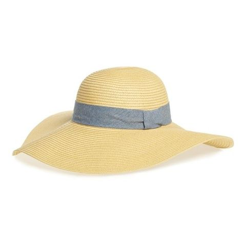05debb12eb8 Women s Bp. Chambray Band Floppy Straw Hat ( 29) ❤ liked on Polyvore  featuring accessories