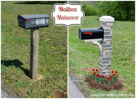 Mailbox makeover with an Eye Level Gray Cast Stone Mailbox Post (180.00) from Lowe's.  Install it over a wooden post. Use QuickCrete in the post hole