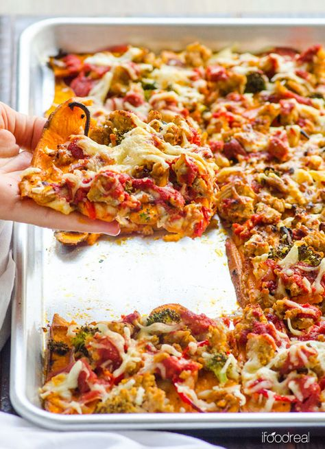 Minus the turkey. Easy Sweet Potato Pizza Crust -- Made with whole foods, full of good for you carbs and requires no food processor. No flour mess either and you can actually cut it like real pizza and hold the slice.