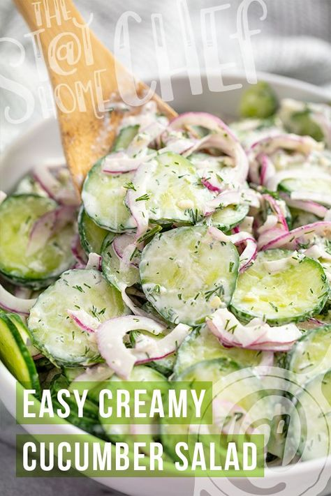 Side Dish Recipes 33657 This Creamy Cucumber Salad recipe is a classic family favorite recipe. Thinly sliced cucumbers and onion are tossed in a creamy vinaigrette for an easy side dish. Easy Creamy Cucumber Salad Recipe, Cucumber Recipes, Recipes For Cucumbers, Cucumber Ideas, Cucumbers And Onions, Creamy Cucumbers, Side Dishes For Bbq, Side Dish Recipes, Burger Side Dishes