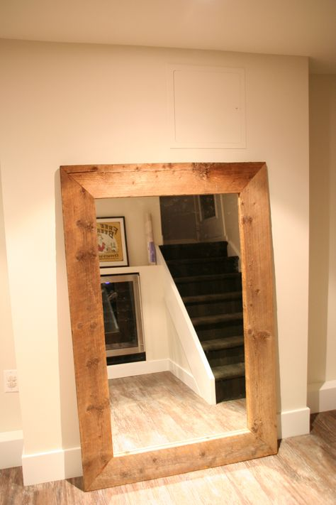 our basement - reclaimed wood mirror
