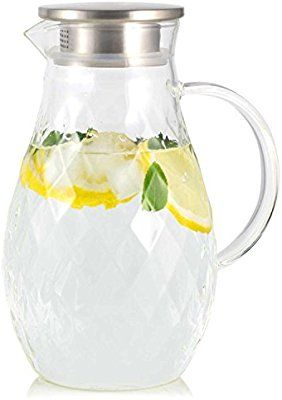 Amazon Com Borosilicate Glass Pitcher With Lid And Spout 68
