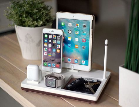 NytStnd TRAY 4 White is the ultimate charging dock for: - iPhone & up including iPhone 8 Plus & X) - iPad (Mini, Air, Pro) - Apple Watch: All Models & - AirPods or Apple TV Remote Gen & - Apple Pencil (Holder Only) SIZE: x See how Wireless works: Apple Tv, Apple Watch Airpods, Apple Ipad, Apple Watch Series 2, Ipad Mini, New Ipad Pro, Ipad Pro 12 9, Apple Pencil Holder, Pencil Apple
