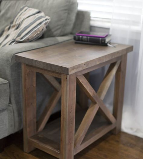 Side Table In 2020 Farmhouse Living Room Furniture Rustic Furniture Decor