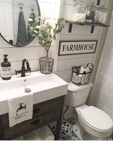 76 Awesome Modern Farmhouse Bathroom Vanity Ideas Modern Farmhouse Bathroom Farmhouse Bathroom Vanity Small Bathroom Remodel