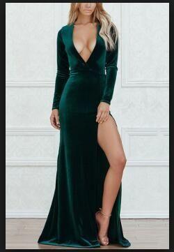Emerald velvet dress Open shoulder dress One sleeve dress Party dark green dress Elegant casual dress for women Evening dress green Autumn
