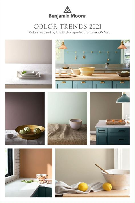 Reignite your culinary pursuits in the kitchen with new design ideas from the Benjamin Moore Color Trends 2021 palette. Partly inspired by the rich tapestry of the kitchen, the 12 rooted hues of the palette fit naturally into any kitchen, from the walls to the cabinets.