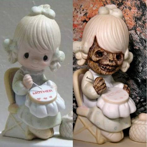 Canadian artist Keith Busher is the creator of Precious Mutations. He takes iconic Precious Moments figurines and repurposes them into terrifying new sculptures. Plastic Canvas Tissue Boxes, Plastic Canvas Patterns, Diy Halloween Decorations, Halloween Crafts, Halloween 2020, Halloween Ideas, Halloween Party, Creepy Baby Dolls, Precious Moments Figurines