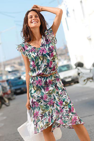 Robe Volantee Voile Imprime Fleuri Blancheporte Robe Decontractee Idees De Mode Vetements Grande Taille