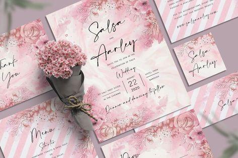 Pink Flower Wedding Invitation Set PSD