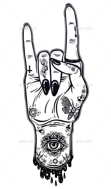 Raised Inked Hand as a Rock and Roll Sign Gesture
