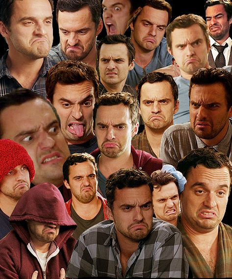 """Whenever Nick Miller makes a face: Everyone yells, """"IT'S NICK MILLER TIME"""" and takes a sip. 