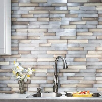 Details About Peel And Stick Tile Self Adhesive Metal Wall Bath
