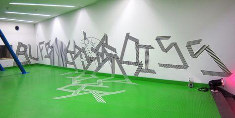 Buff Diss tape art (wall art idea, the way tape is aligned) #tape #wall
