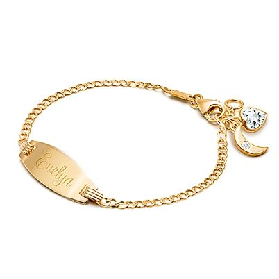 Classic Baby Children S Engraved Id Bracelet 14k Gold 14k Gold Bracelet Baby Bracelet Gold Bracelet