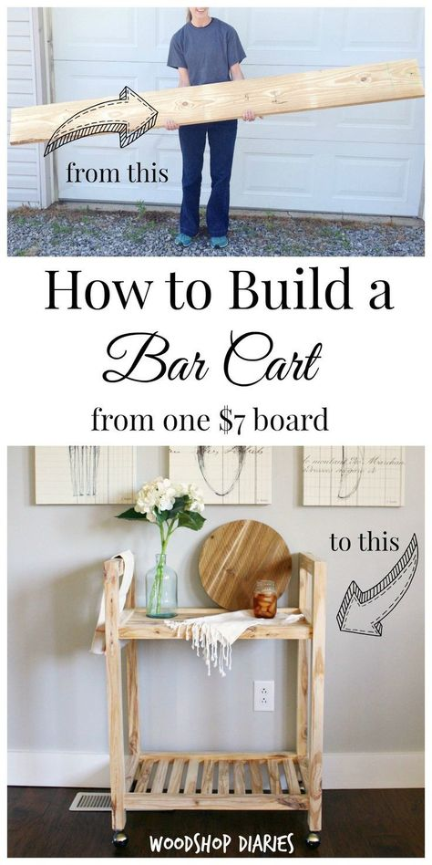 DIY Bar Cart from a Single Board -{2x4 & More Challenge!}