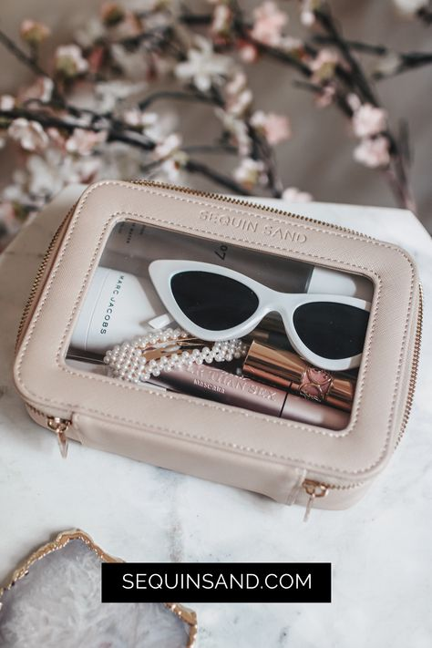 Perfectly fits your sunglasses, makeup, hair accessories, tech accessories, and travel liquids. Or Rose, Rose Gold, Travel Accessories, Hair Accessories, Popular Bags, Luxury Travel, Travel Size Products, Leather Case, Travel Style