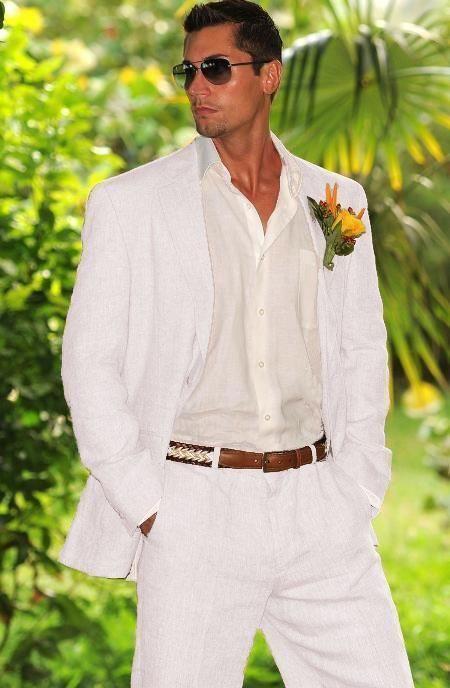 Wedding Suit White Suit Men S Linen Suit Beach 2 Piece Wedding