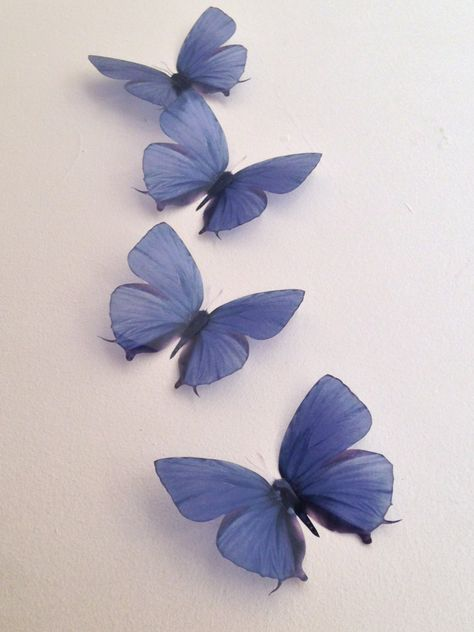 4 Vintage Teal Blue in Flight 3D Butterflies Wall Mounted Butterfly Accessories by MyButterflyLove on Etsy