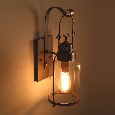 Industrial Loft Rust Metal Lantern Single Wall Sconce with Clear Glass - Indoor Sconces - Wall Lights - Lighting
