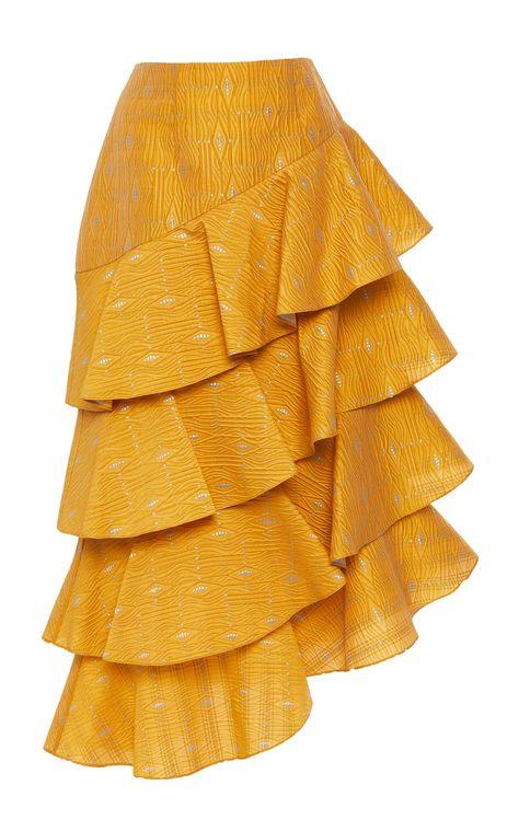 This Markarian Harriet silk-blend tiered ruffle skirt features an asymmetric hemline and midi length.