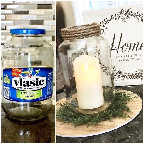 This just in: Mason jars are out. Pickle jars are in.Allow us to elaborate: You know how we've seen mason jars go from humble canning tool to the reason for a D Pickle Jar Crafts, Pickle Jars, Mason Jar Crafts, Mason Jar Diy, Jelly Jar Crafts, Crafts With Jars, Diy Para A Casa, Diy Candle Holders, Dollar Tree Crafts