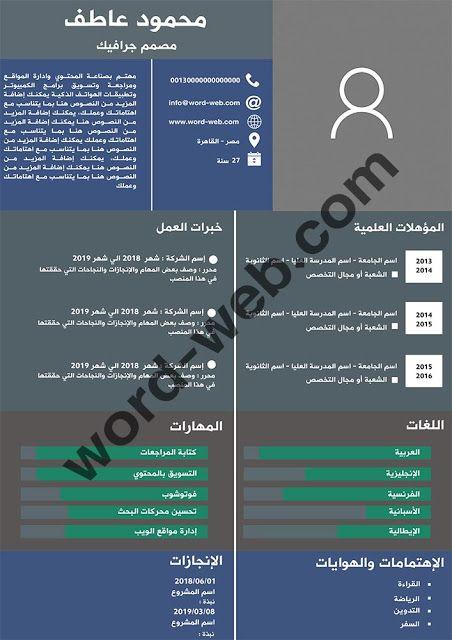 نماذج سيرة ذاتية Pdf عربي مجاني Word Web Curriculum Vitae Curriculum
