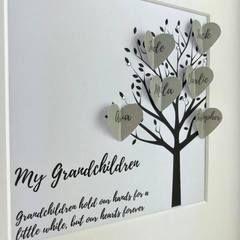 New personalised grandchildren family tree frame | grandchildren keepsake gift | personalised grandparents frame