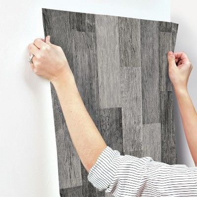 Roommates Weathered Wood Plank Peel Stick Wallpaper Black Stick On Wood Wall Peel And Stick Wallpaper How To Distress Wood