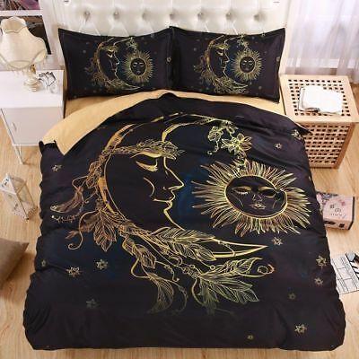 Sun Moon And Stars Hippie Bedding Set Polyester Duvet Cover Pillowcase Hippie Bedding Duvet Cover Sets Queen Bedding Sets