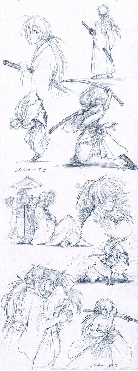 Rough sketches from one of my favorite Oh you Himura-san, why are you so fun to draw~ I don't think I can stop. The original lines were so, so very dim, hence the drastic edit and grain. Rurouni Kenshin, Kenshin Anime, Art Reference Poses, Drawing Reference, Kenshin Le Vagabond, Manga Anime, Anime Art, Drawing Sketches, Drawings