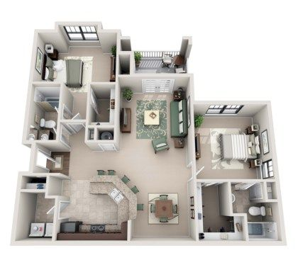 52 Creative Two Bedroom Apartment Plans Ideas Roundecor Apartment Layout Apartment Plans Two Bedroom Apartments