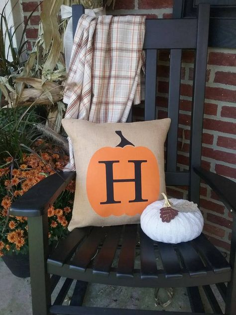Fall Outdoor Decor Pumpkin Personalized Address Burlap Pillow covers Monogrammed Letter Name Custom house home autumn front porch entryway by TheWestGarden on Etsy Burlap Pillows, Custom Pillows, Farmhouse Style Decorating, Porch Decorating, Outdoor Christmas Decorations, Outdoor Decor, Fall Decorations, Fall Halloween, Halloween Wreaths