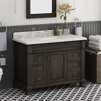 Kingsley 48 Single Sink Vanity With Alpine Mist Countertop