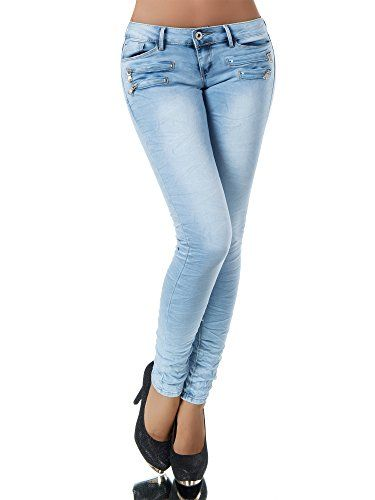 Damen High Waist Stretch Jeans Hose Damenjeans Röhrenjeans Hüftjeans Übergröße