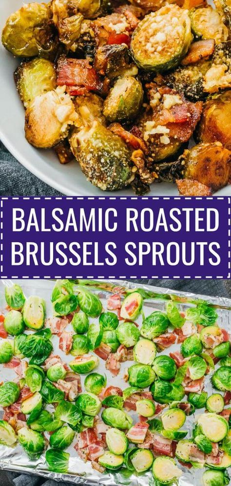 Amazing oven roasted brussels sprouts with balsamic vinegar, garlic, olive oil, and parmesan cheese! Also comes with bacon that crisps up nicely on the pan. It's an easy, simple, and healthy dish, great if you're looking for a keto, low carb, and gluten free dinner recipe, whether you enjoy it as an appetizer or as a meal. Click the pin for the recipe, nutrition facts, cooking tips, more photos! #healthy #healthyrecipes #lowcarb #keto #ketorecipes #glutenfree #dinner #easydinner #thanksgiving