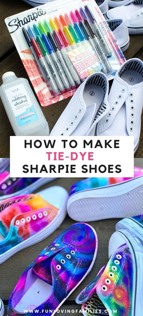 Follow this simple sharpie tie dye shoes tutorial to learn how to decorate shoes in your own style. Sharpie Tie Dye, Sharpie Shoes, Sharpie Crafts, Tie Dye With Sharpies, Sharpie Projects, Marker Crafts, Sharpie Markers, Craft Projects, Tie Dye Shoes