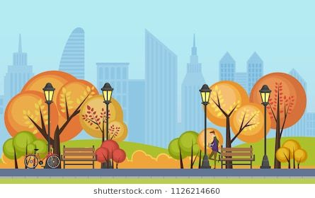 Vector Illustration Of A Beautiful Autumn Public City Park With City Skyscrapers Buildings On Background City Landscape Vector Illustration Illustration