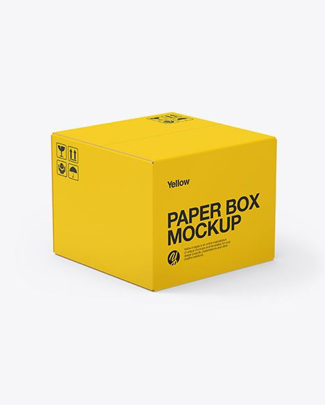 Paper Box Mockup In Box Mockups On Yellow Images Object Mockups Box Mockup Mockup Free Psd Psd Mockup Template