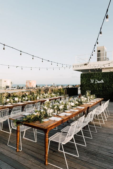 Rooftop miami beach modern black and white wedding inspiration at The Betsy Hotel - flowers by Primrose Floral + Event Design Modern Wedding Reception, Rooftop Wedding, Hotel Wedding, Miami Wedding, Wedding Receptions, Dream Wedding, Wedding Place Settings, South Beach Miami, Floral Event Design