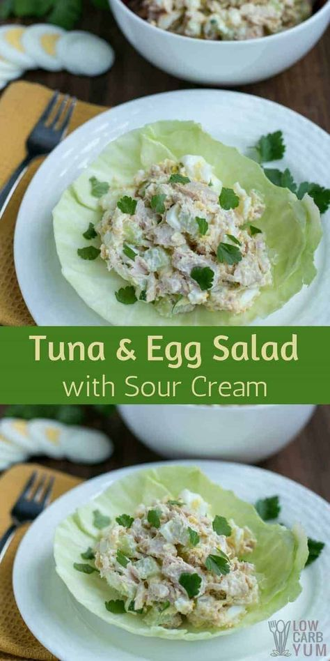 Try This Tuna And Egg Salad With Sour Cream For An Easy Lunch Or Simple Low Carb Snack Great For An Easy K Egg And Grapefruit Diet Tuna And Egg Tuna