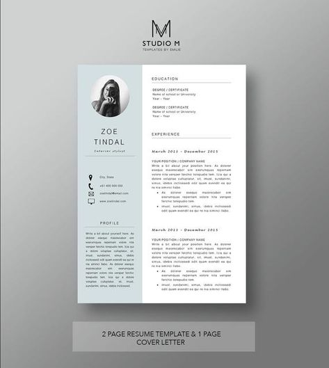 Resume and Cover letter template  Professional Microsoft Word | Etsy