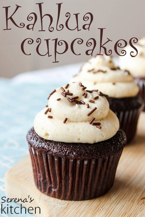 What's better than Kahlua in your coffee? Kahlua in your dessert! These chocolate cupcakes are filled with Kahlua chocolate ganache, and topped with Kahlua cream cheese frosting - via www.serenaskitchen.com #kahlua #cupcakes